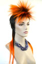 Mohawk Long Medium Straight Brunette Red Costume Fun Color Wigs
