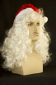 Santa Hat & Wig Medium Curly Grey Costume Fun Color Wigs Men Wig