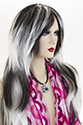 F451 Long Straight Brunette Costume Fun Color Wigs