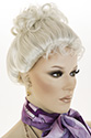 Up Do Long Straight Brunette Grey Costume Wigs